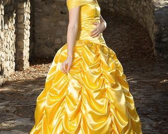 Adult Belle Princess Costume, Belle Custom Cosplay, Belle Princess Party, Yellow Princess Dress, Custom Belle Gown, Belle Halloween Gown