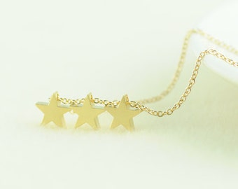 Gold Star Necklace. Triple Star Necklace. Trio Star Necklace. My Lucky Star. Shooting Star. Guiding star. Wish Upon a Star. Three Wishes.