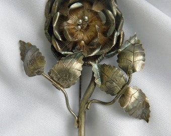 Antique Sterling Silver Rose Pin on Branch/Bough & Leaves, C. 1930's, Blooming Rose