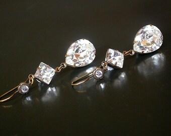Swarovki Clear Crystal Dangling Earrings on Brass - Victorian Jewelry - Angelina Jolie Inspired Earrings - Bridal Earrings