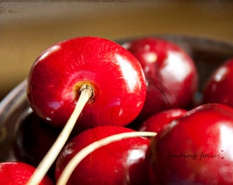 Red Cherry Photo Fruit Food Art, Ruby Garnet Crimson Bowl of Fresh Cherries, Rustic Farmhouse Kitchen Wall Decor, Bing Cherry Photography