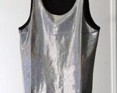 Holographic Silver Rainbow Shiny Metallic 90s Stretchy Tank Top