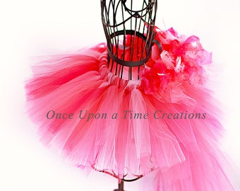 Flamingo Feather Bustle Tutu Girls Size 3 6 9 12 Months 2T 3T 4T 5T 6 7 8 10 12 Adult - Pink Bird Halloween Costume Skirt Ready To Ship