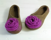Wool Felted Slippers women's house shoes (natural chestnut brown and purple)