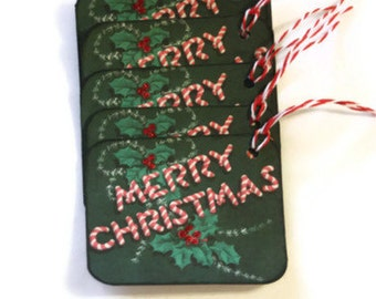 Vintage Style Christmas Gift Tags Retro Inspired Candy Cane Set of 6