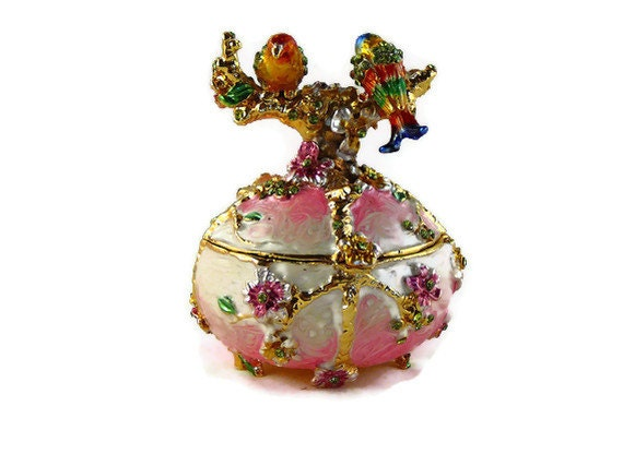 Two Parrot Round Bejeweled Crystal Jewelry Trinket Box