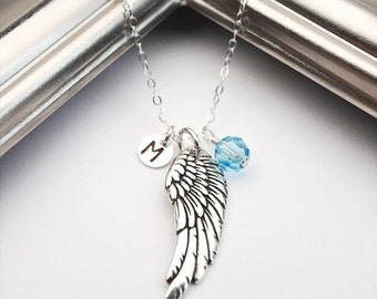 Angel Wing Necklace, Miscarriage Necklace, Memory Necklace, Memorial, Personalized Necklace, Silver Wing, Intitial Necklace & Birthstone