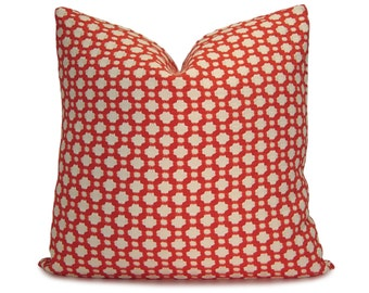 Betwixt Spark on BOTH SIDES Decorative Pillow Cover in Red & Ivory - Schumacher Fabric - Throw Pillow - Sofa Pillow - Cushion