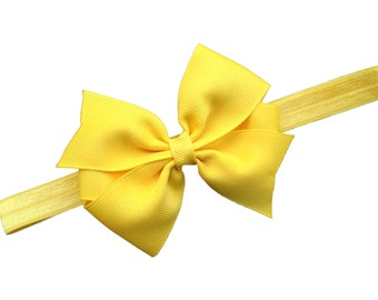 Yellow bow headband - yellow baby headband, yellow baby bow headband, yellow headband, newborn headband, infant headband, baby girl