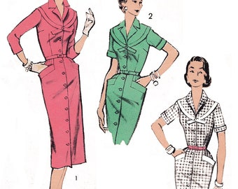 "1956 Vintage Front Buttoned V Neck Dress, Fitted Bodice with Band Trim, Slim Skirt, Diagonal Set-in Pockets , Advance 7733, Bust 36"", Uncut"