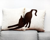 Personalized pillows, cat pillow covers, beige dark brown, sofa pillows, dorm pillow, cojín del sofá, cat pillows, pillow set
