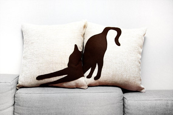 Personalized cat pillow covers, beige dark brown, decorative pillows, sofa pillows, dorm pillow, cojín del sofá, cat pillows, pillow set