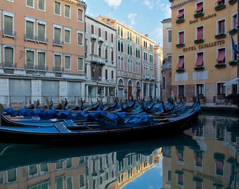 Venice Photography, Gondolas, Italy, Reflections, Fine Art Print