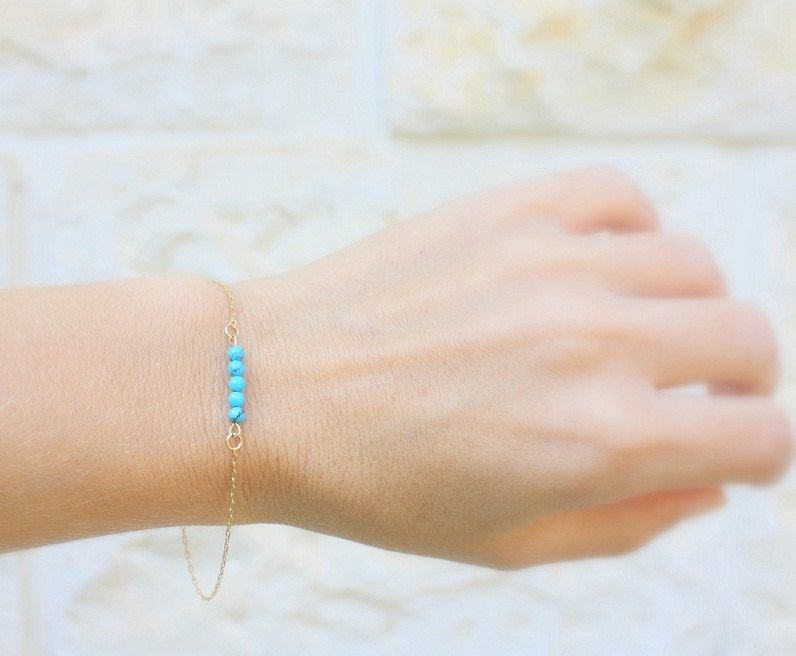 Delicate bracelet tiny turquoise stones on thin 14k by JulJewelry