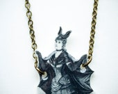 Bat Necklace Gothic Lady Victorian Costume Ephemera Illustration Necklace - SaltyStarDesigns