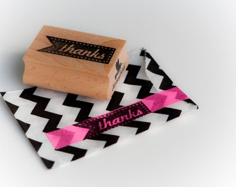 """a """"Thanks"""" tag rubber stamp"""