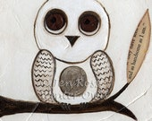 "Whimsical Owl Print - of Owl Painting, ""And as handsome as I am"" - WinterOwls"