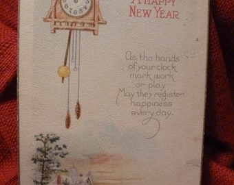 New Year's clock.  Vintage postcard, 1925.  Nice verse.