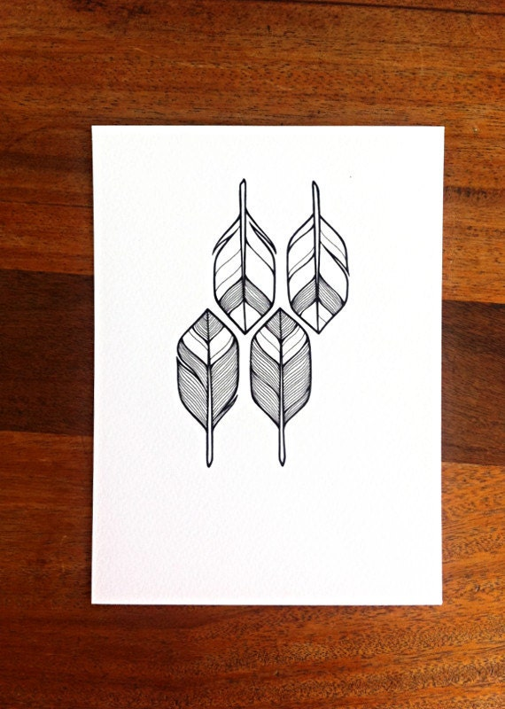arrows illustration - MADE TO ORDER - geometric pattern - 'four' - hand drawn feathers or arrow flights - black and white feathers art.