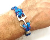 Blue anchor bracelet. Sea bracelet. Nautical bracelet.Wrap bracelet, cotton bracelet, Men bracelet. Women bracelet. Rope bracelet