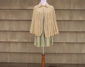 Hand Crocheted Tan Collared Cape