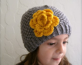 Grey and Gold Beanie with Flower. Beanies for Girls. Girl's Beanie. Hand knitted Beanies. Made to order Beanies