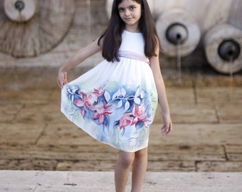 Flower silk dress hand painted for kids. Pastel rose , blue and  white  silk dress. White silk dress.Ready to ship.