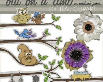 Spring Clipart Tree Branches, Birds, Squirrel -Personal and Limited Commercial Use- Out on a Limb - Instant Download