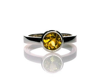 Citrine ring, engagement ring, white gold, yellow gemstone, citrine engagement, birthstone ring, bezel, solitaire