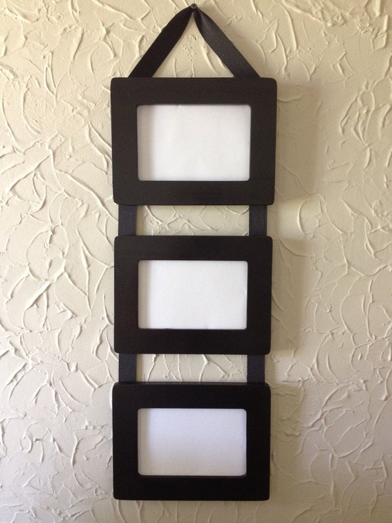 items similar to ribbon hanging picture frames set of 3 4x6 black frames connected with grosgrain ribbon on etsy