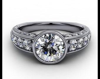 Bezel Set Moissanite Center Engagement Ring Diamond Setting 14k Gold  Ring Name Modern Mix