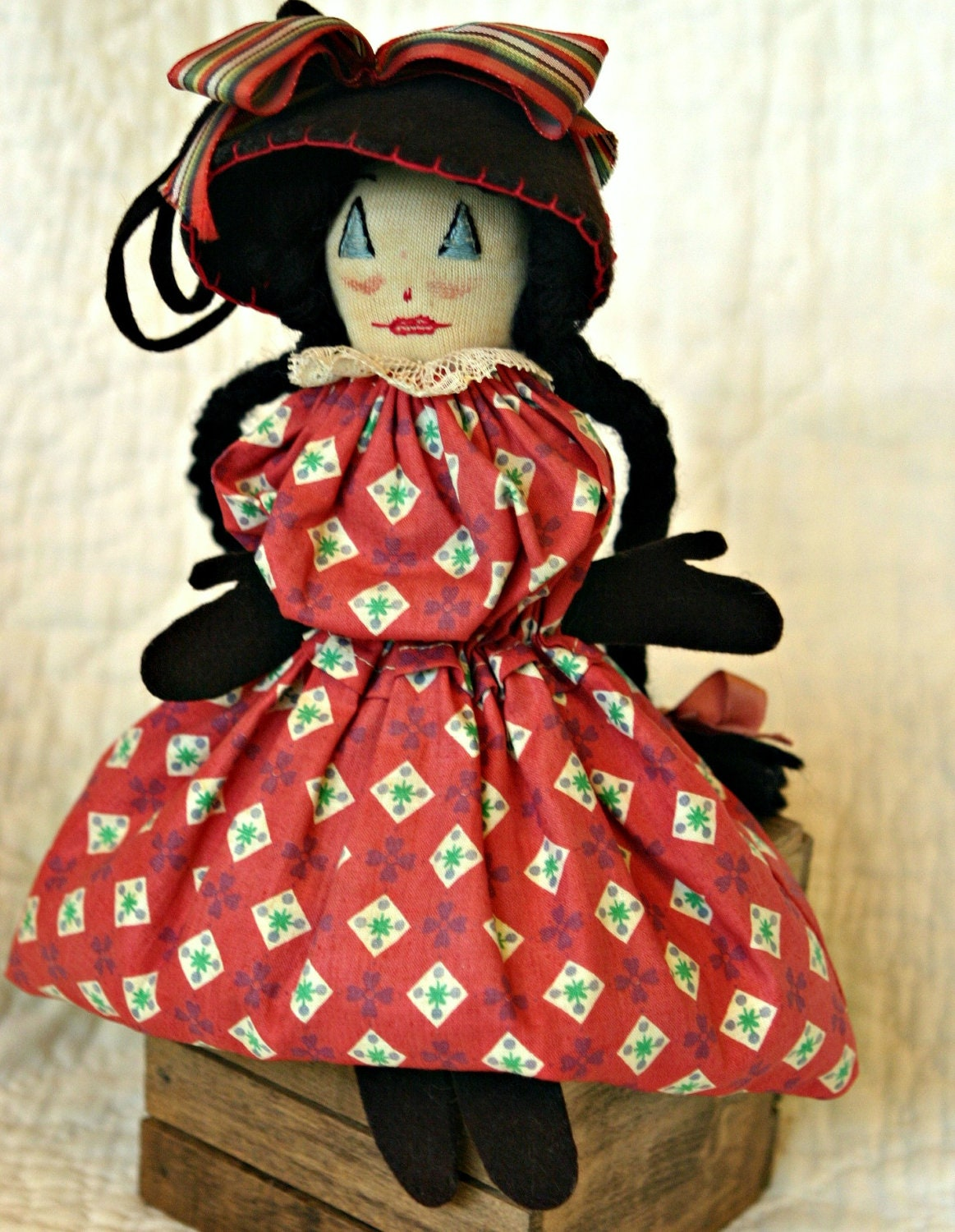 Vintage Handmade Bean Bag Rag Doll With Yarn By