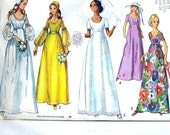 Simplicity pattern 1971 vintage wedding dress or bridesmaids with cap ... number 9260