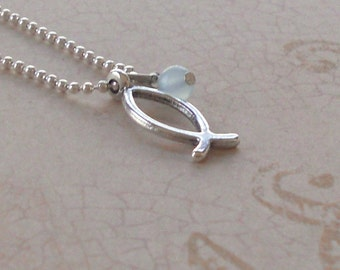 Christian Ichthus Fish Necklace Silver Small Pendant Seafoam Sea Foam Green Opalescent Minimalist Symbol Fashion Jewelry Gift Free Shipping