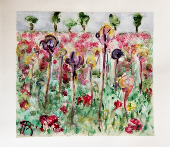 """Watercolor painting, original landscape. A field in vibrant summer colors with Meadow flowers  9"""" x 9.9"""" 'Meadow with dream flowers 1'"""