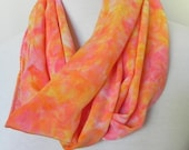 Hand Dyed Long Silk Scarf of Crepe de Chine in Peach, Nectarine, and Golden Yellow, Ready to Ship