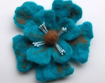 Felt flower brooch pin, felted wool flower pin, hand felt brooch jewelry, turquoise brooch bouquet, felt flower pin, corsage, gifts for her