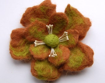 Flower pin brooch felt, wet felted wool flower pin, felt jewelry, light brown and green, gifts for her, corsage, big flower brooch