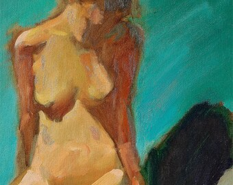 """Fine art digital print woman nude figure, colorful impressionist style of my original oil painting, 16""""x 20"""", Sitting Nude by Vernon Grant"""