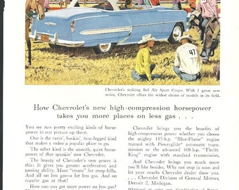 1953 Chevrolet Bel Air Car Ad 1950s Chevy Western Theme Vintage Blue White Auto Advertising Original Vintage Wall Decor