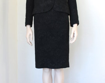 60s RUDI GERNREICH suit / 3 piece / black evening / pencil skirt / jacket / tank / mid century suit