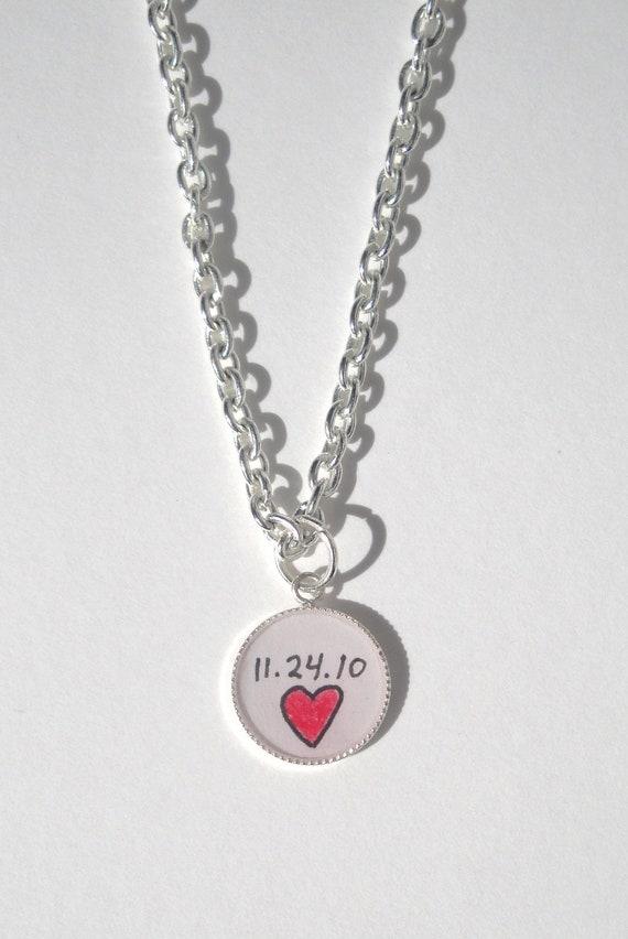 Personalized Anniversary Pendant  / Custom Pendant/ Anniversary Gift / Custom Jewelry / Resin Jewelry / Resin Pendant