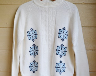 Vintage Ugly Christmas Sweater Holiday Sweater Snowflake Sweater Christmas Jumper