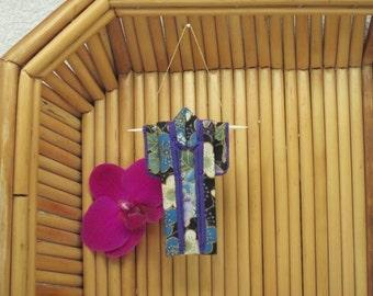 "Tiny Kimono Ornament. ""Plum Flowers."" Fabric Origami Kimono Ornament: Asian Holiday Decoration. Blue Purple. Hang it, Frame it, Give it."