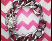 The HOOTIE Is A Smooth Gun Metal Chain Bracelet With An Owl Pave Charm