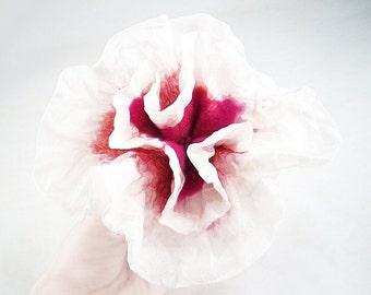 Felted Brooch Nunofelt brooch CHERRY BLOSSOM brooch felt nuno flower nunofelt flower folk boho wool victorian fairy