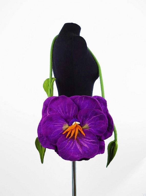 Felted Bag PANSY Handbag purple Purse Felt Nunofelt Nuno felt Silk Eco handmade fairy multicolor floral fantasy shoulder bag Fiber Art boho