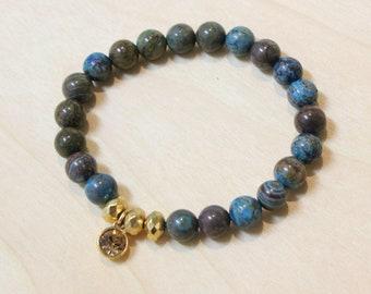 Handmade Stackable Stretch Bracelet Tribal Rainbow Casilica, Natural Crystal and Gold Metal - Boho Soho Genuine Beaded stacking