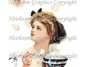 Harrison Fisher  Victorian Woman Digital Download  Vintage Harrison Fisher - Victorian Woman