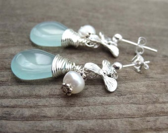 Sterling Silver Aqua Blue Wire wrapped Chalcedony freshwater pearl dangle stud orchid flower handmade earrings Hawaii Hawaiian